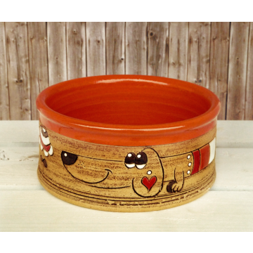 Dog Bowl Puppies orange