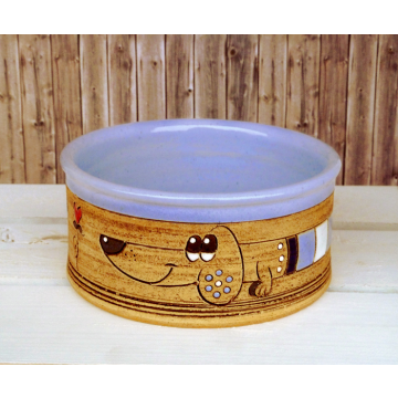 Dog Bowl Puppies blue